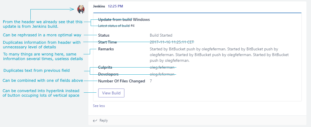 This is how your build notification will look in the Microsoft Teams channel