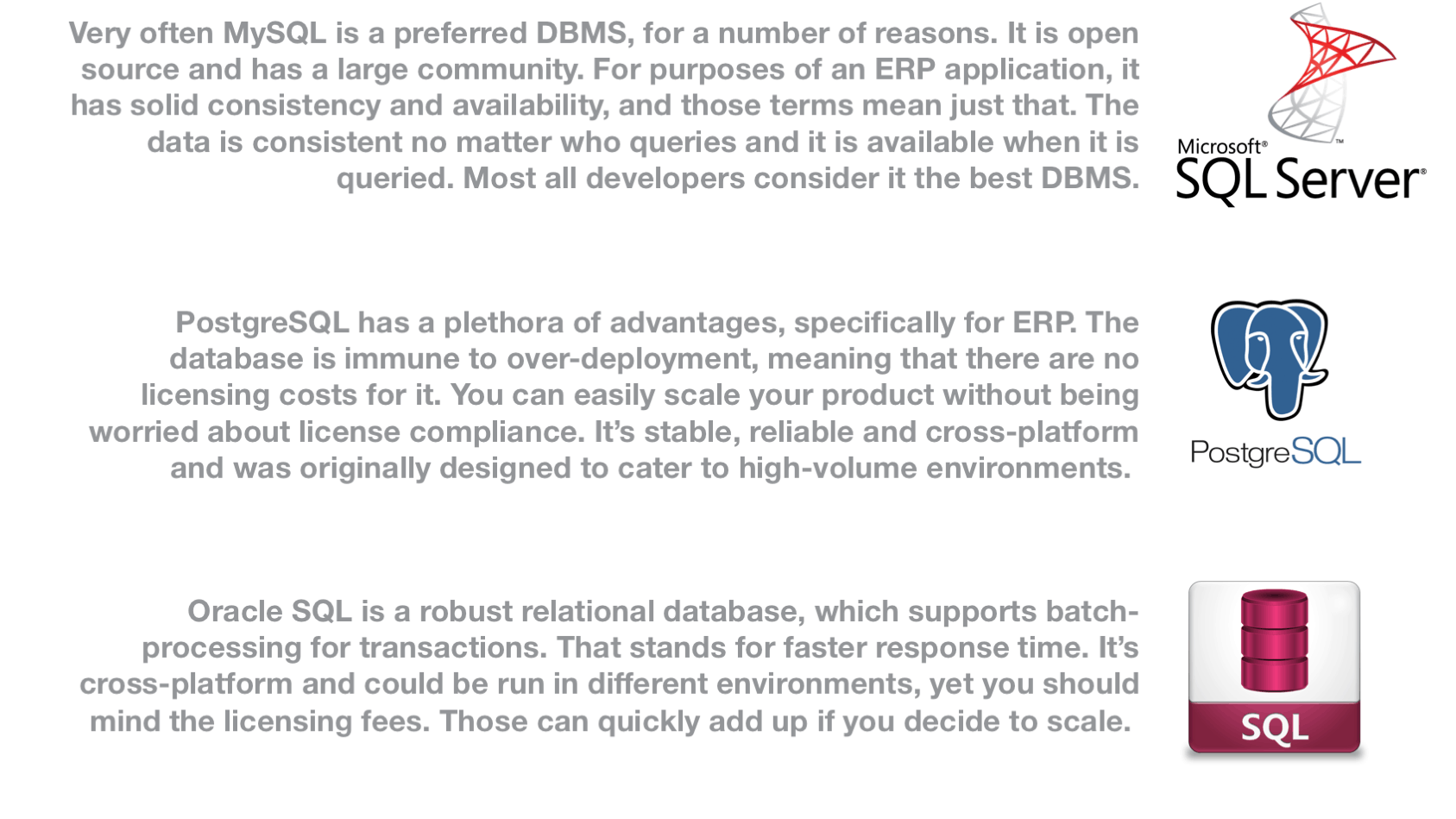 how to develop erp from scratch and which database to use for your custom erp system scheme