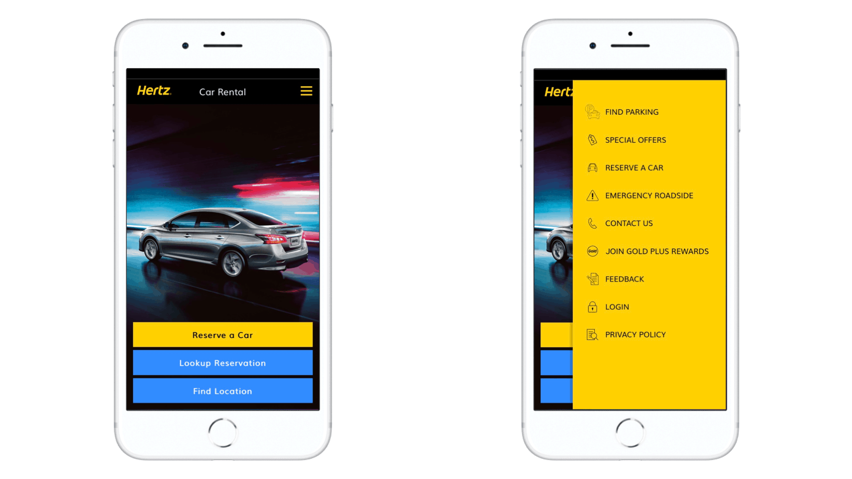 Hertz car rental mobile application home page screenshot