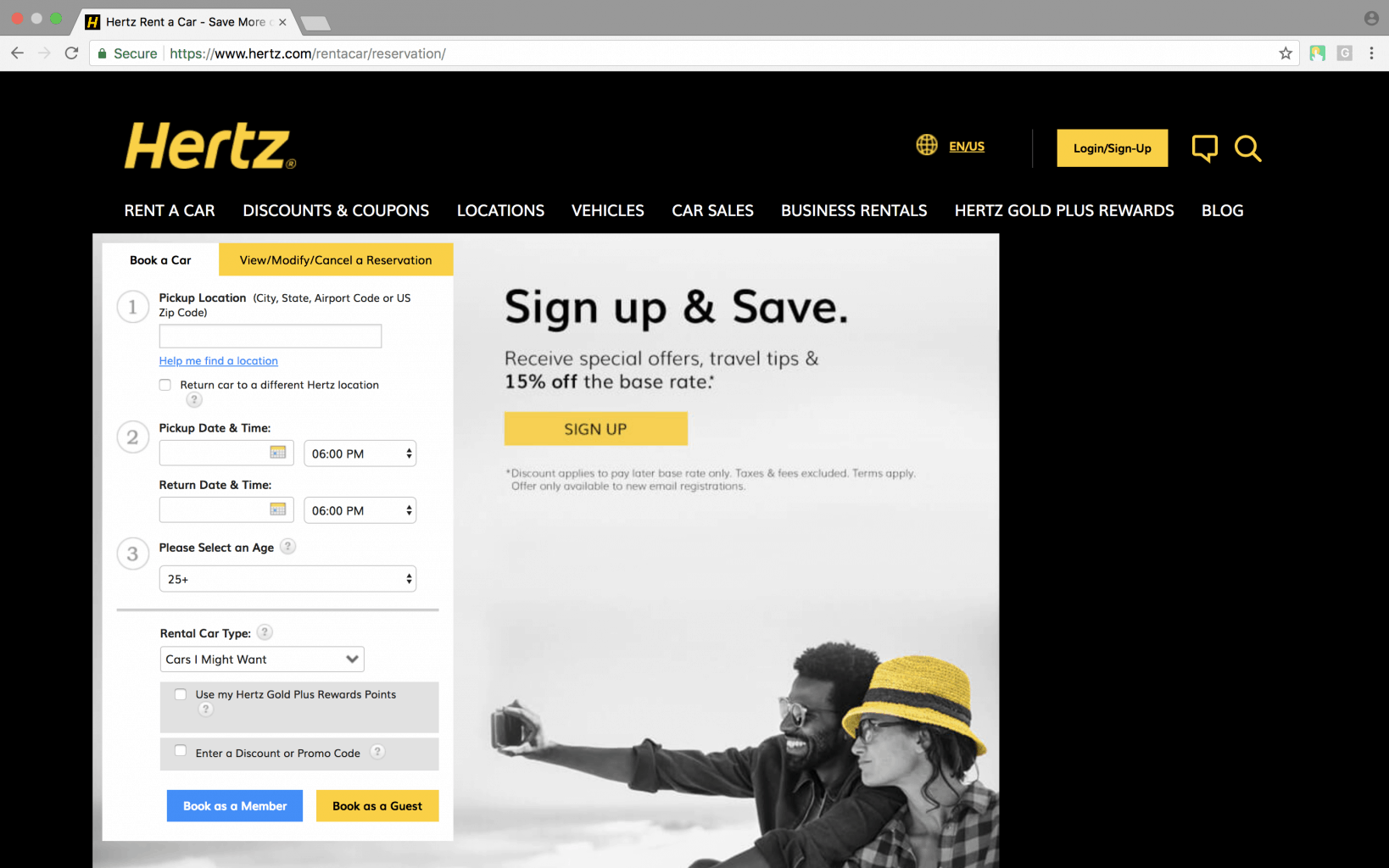 hertz car rental web application screenshot