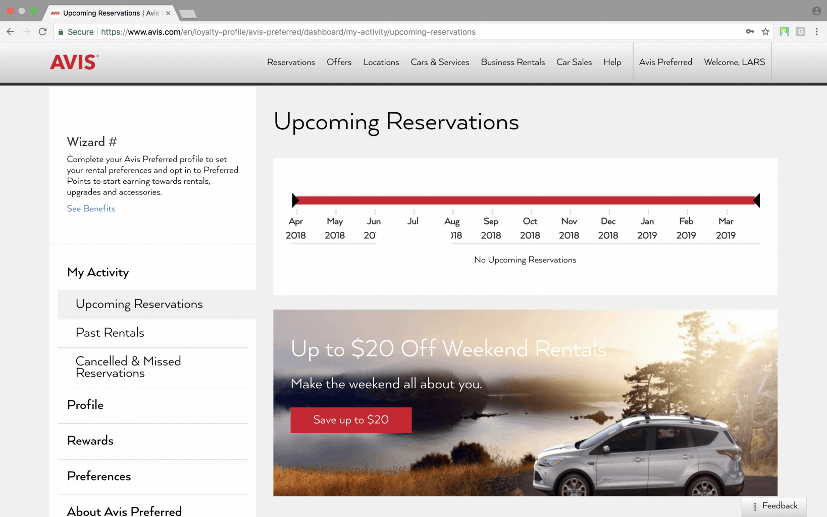 upcoming car reservation screen of the car rental web application