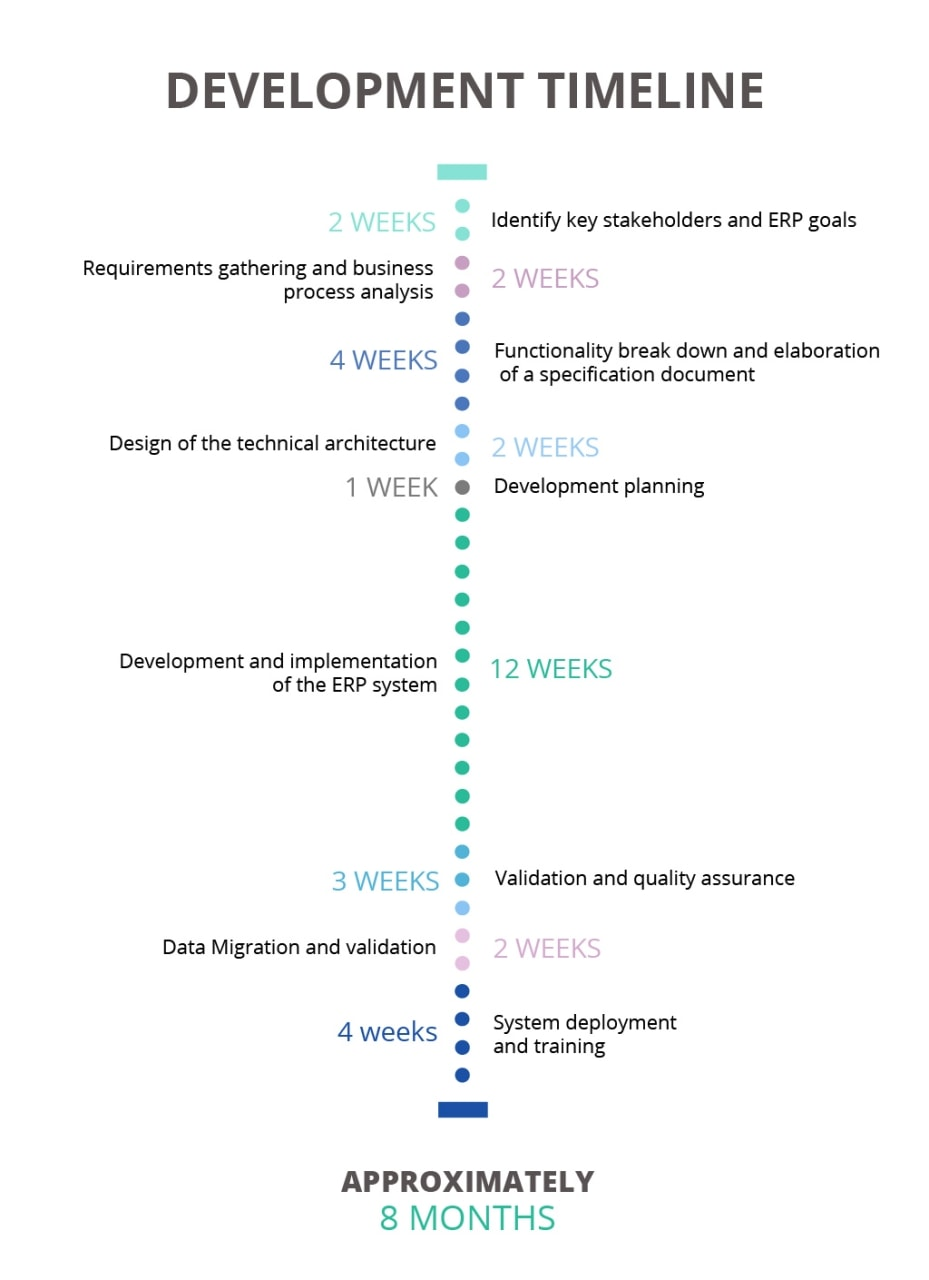 Custom ERP development timeline scheme